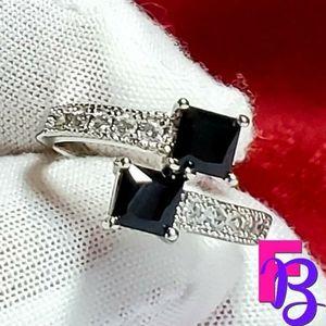Size 8 Geometric Silver & Black CZ Ring